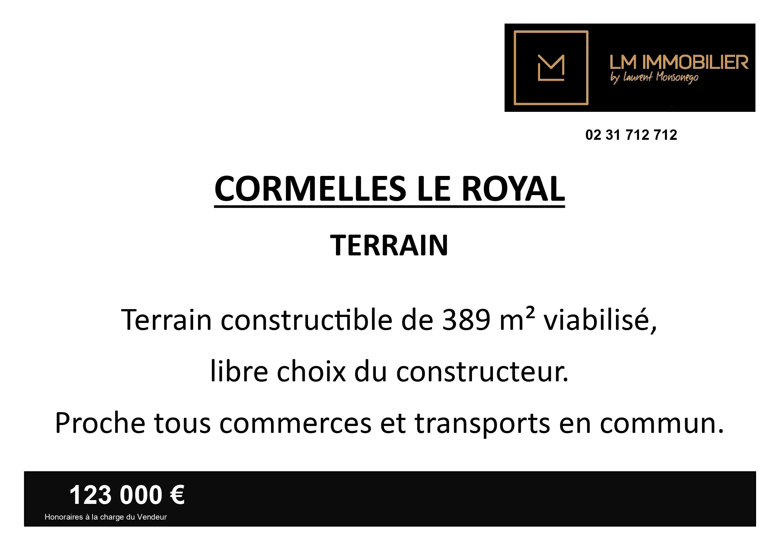 Terrain – 389 m² – Cormelles le Royal